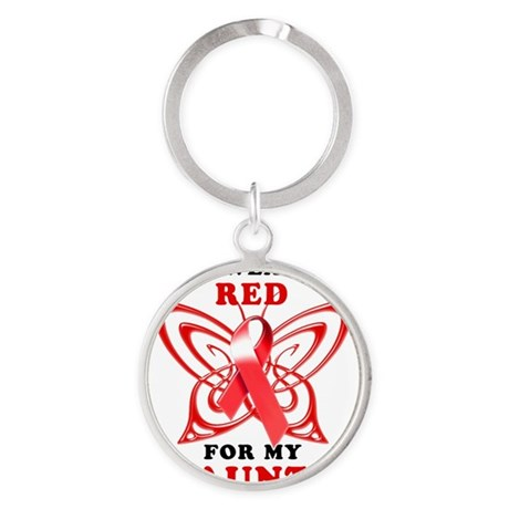 I Wear Red for my Aunt Round Keychain