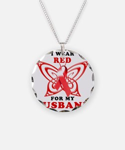I Wear Red for my Husband Necklace