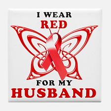 I Wear Red for my Husband Tile Coaster
