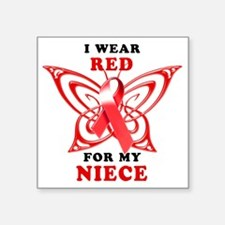 "I Wear Red for my Niece Square Sticker 3"" x 3"""