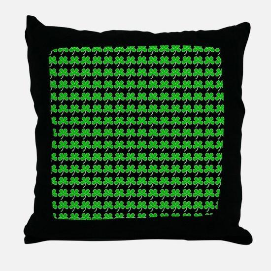 Green Shamrocks St. Patricks Day Blac Throw Pillow