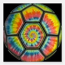"soccer-tiedye-CRD Square Car Magnet 3"" x 3"""