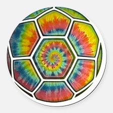 soccer-tiedye-T Round Car Magnet