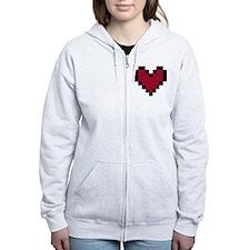 8 Bit Heart Zip Hoodie