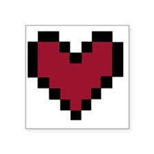 "8 Bit Heart Square Sticker 3"" x 3"""