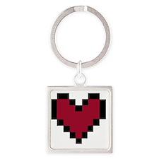 8 Bit Heart Square Keychain