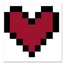 "8 Bit Heart Square Car Magnet 3"" x 3"""
