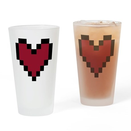 8 Bit Heart Drinking Glass By Admin Cp12736987