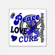 "D AS Peace Love Cure 2 Square Sticker 3"" x 3"""