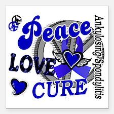 "D AS Peace Love Cure 2 Square Car Magnet 3"" x 3"""