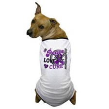 D Alzheimers Peace Love Cure 2 Dog T-Shirt