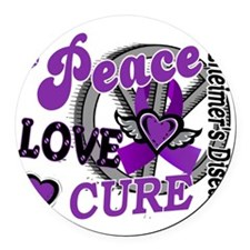 D Alzheimers Peace Love Cure 2 Round Car Magnet