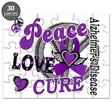D Alzheimers Peace Love Cure 2 Puzzle