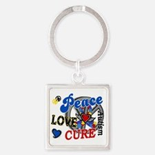 D Autism Peace Love Cure 2 Square Keychain