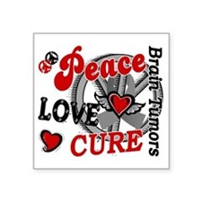 "D Brain Tumor Peace Love Cu Square Sticker 3"" x 3"""
