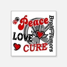 "D Brain Tumor Peace Love Cu Square Sticker 3"" x 3"""