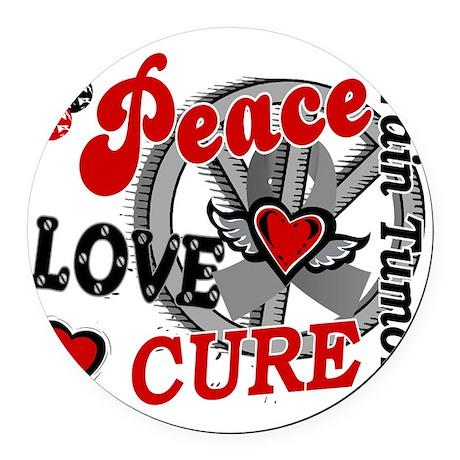D Brain Tumor Peace Love Cure 2 Round Car Magnet