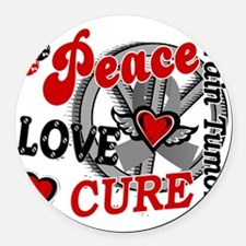D Brain Tumor Peace Love Cure 2 Round Car Magnet
