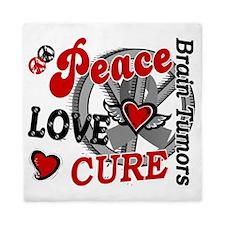 D Brain Tumor Peace Love Cure 2 Queen Duvet