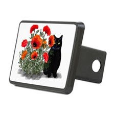 Black Cat with Poppies Hitch Cover