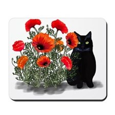 Black Cat with Poppies Mousepad