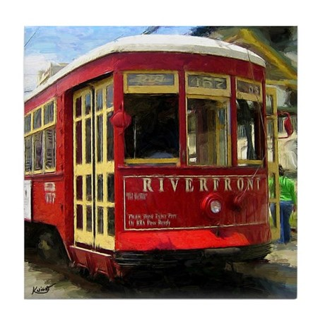 French Quarter Trolley in Red - Tile Coaster