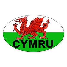 CYMRU - WALES Oval Bumper Stickers