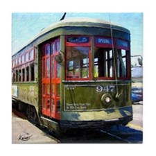 French Quarter Trolley in Green - Tile Coaster