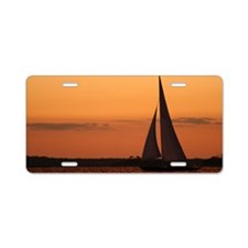 Sunset Sail Mug Aluminum License Plate