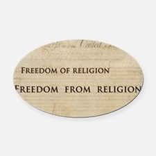 12x20_car magnet - Freedom of reli Oval Car Magnet