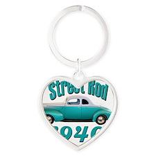 40 ford rod light blue Heart Keychain