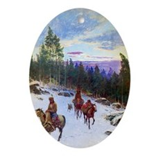 Over the Trail, 1901, gouache on pap Oval Ornament