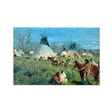 Sioux Hunting Camp, 1891, gouache Rectangle Magnet