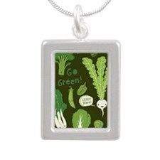 gogreeniphoneslider Silver Portrait Necklace