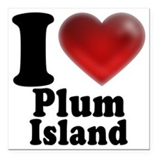 "IHeartPlumIslandLight Square Car Magnet 3"" x 3"""