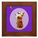 Begging Corgi Framed Tile