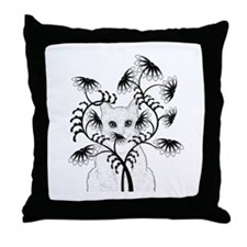 White Cat with Zinnias Throw Pillow