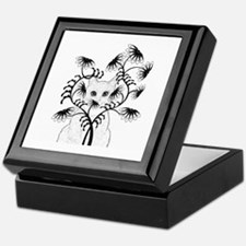 White Cat with Zinnias Keepsake Box