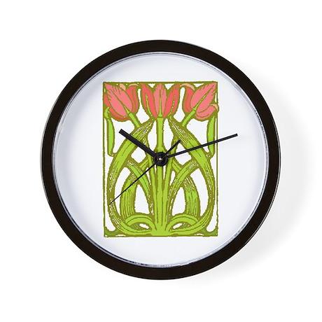 Art Nouveau Tulips -- Wall Clock
