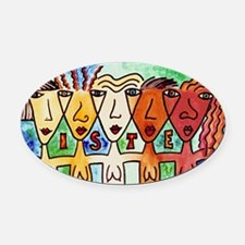 Sisters Oval Car Magnet