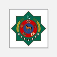 "Turkmenistan Coat of Arms Square Sticker 3"" x 3"""