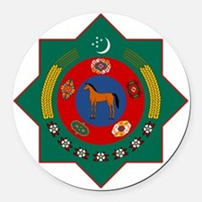 Turkmenistan Coat of Arms Round Car Magnet