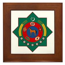 Turkmenistan Coat of Arms Framed Tile