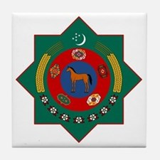 Turkmenistan Coat of Arms Tile Coaster