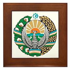 Uzbekistan Coat of Arms Framed Tile