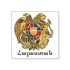 "Armenia Emblem Square Sticker 3"" x 3"""