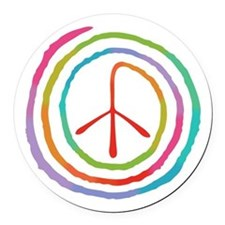spiral-peace2-T Round Car Magnet