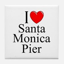 """I Love Santa Monica Pier"" Tile Coaster"