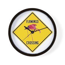 crossing-sign-flamingo Wall Clock