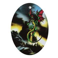Dragons hoard Oval Ornament